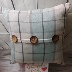 Raven Plaid Accent Pillow With Buttons